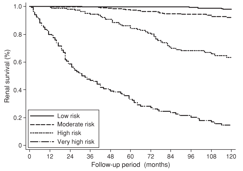 "Kaplan-Meier survival curves for four risk groups derived from a prognostic model that provides a score to predict renal outcome in IgA nephropathy (reproduced from Goto et al <em class=""ref"">[83]</em>)."