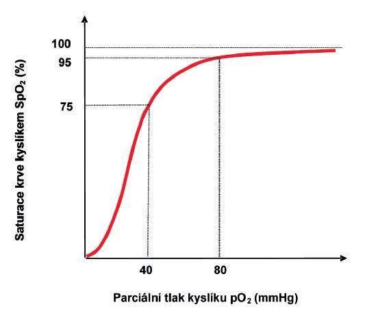 Závislost saturace krve kyslíkem v závislosti na parciálním tlaku kyslíku a dalších faktorech (dle 6, 37, 41).