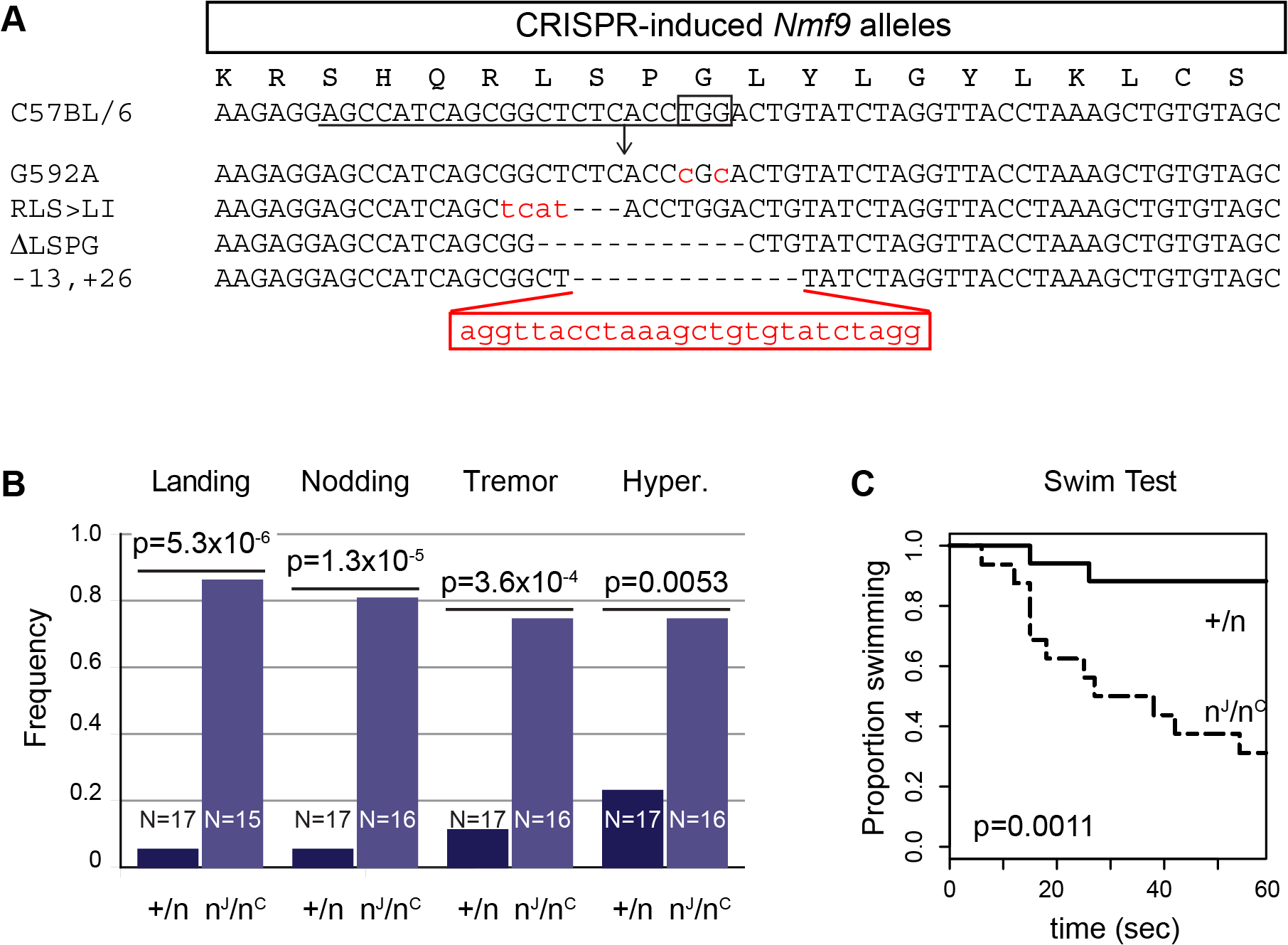 Genome edited alleles show importance of conserved domain 2 and confirm identity of <i>nmf9</i>.