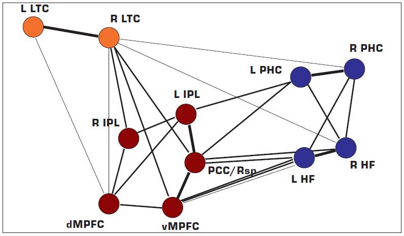"""Mohutnost propojení neboli funkční korelace jednotlivých uzlů implicitní sítě lidského mozku. Čím silnější je spojující linie, tím je vyšší míra funkční korelace. """"Jaderná"""" ohniska sítě ("""" těžiště"""" neboli """"náby"""" systému (angl. hubs) jsou červeně. L levá strana R pravá strana LTC laterální temporální kůra IPL lobulus parietalis inferior dMPFC dorzální mediální prefrontální kůra vMPFC ventrální mediální prefrontální kůra PCC/Rsp zadní cingulární kůra – retrosplenická kůra PHC parahipokampální kůra HF hipokampální formace Dle Buckner et al. (4)."""