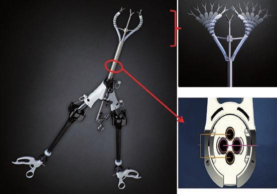 Instrument s rozšířeným rozpětím pro výkony s využitím jediného portu (SPIDER<sup>®</sup> Surgical System).