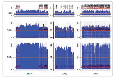 Homogenita pokrytí u třech vybraných genů z CZECANCA panelu (<em>BRCA1</em>, <em>TP53</em> a <em>ATM</em>) při různé cílené hloubce sekvenačního pokrytí (coverage: 25×, 100×, 500×; oranžová linka).
