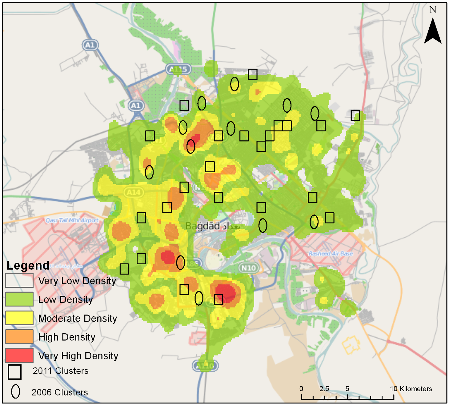 Density of civilian deaths in Baghdad, with the cluster locations of the University Collaborative Iraq Mortality Study as well as 2006 cluster locations of a previous study <em class=&quot;ref&quot;>[30]</em>.