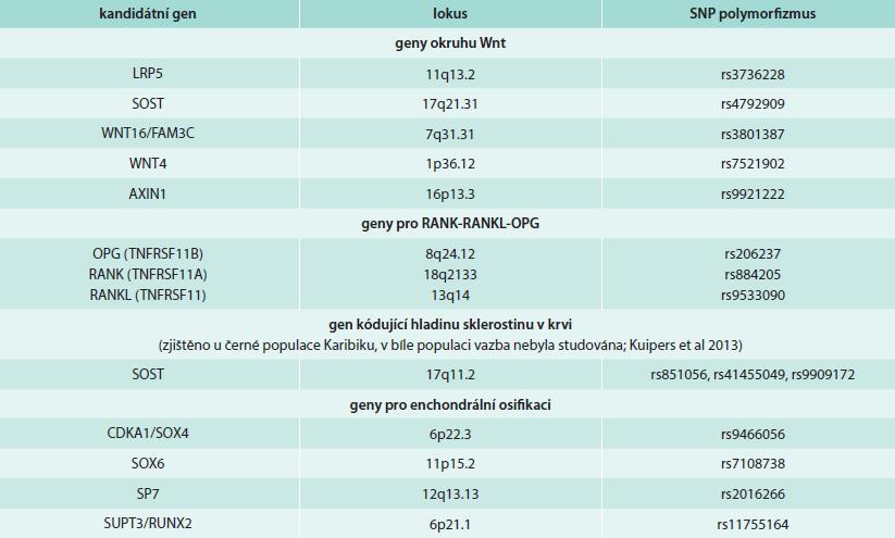 Výběr genů asociovaných s kostní denzitou krčku femoru nebo páteře identifikované metodou GWAS. Upraveno podle [5].