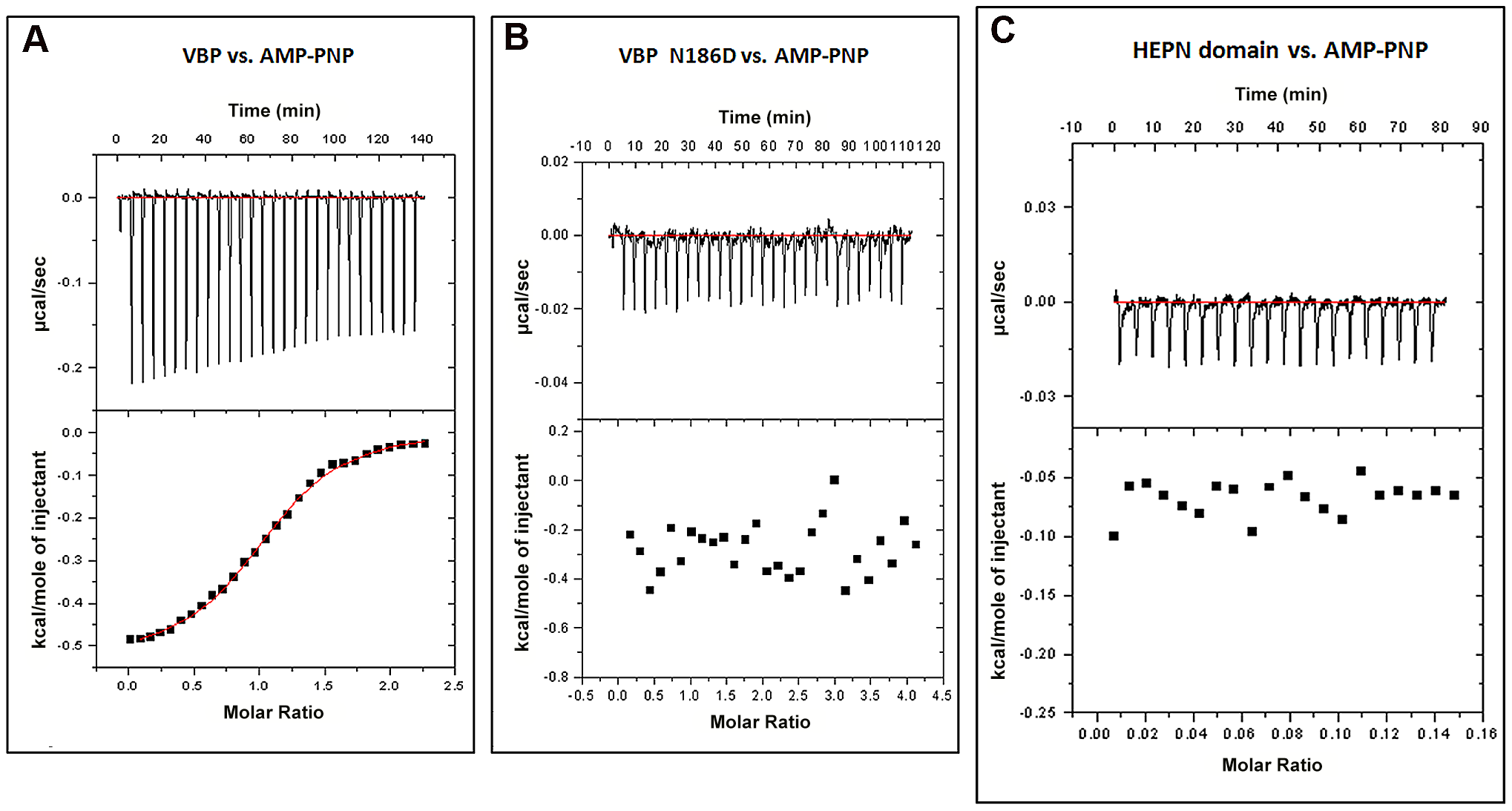 Interaction of VBP with AMPPNP (ATP analog) by isothermal titration calorimetry (ITC).