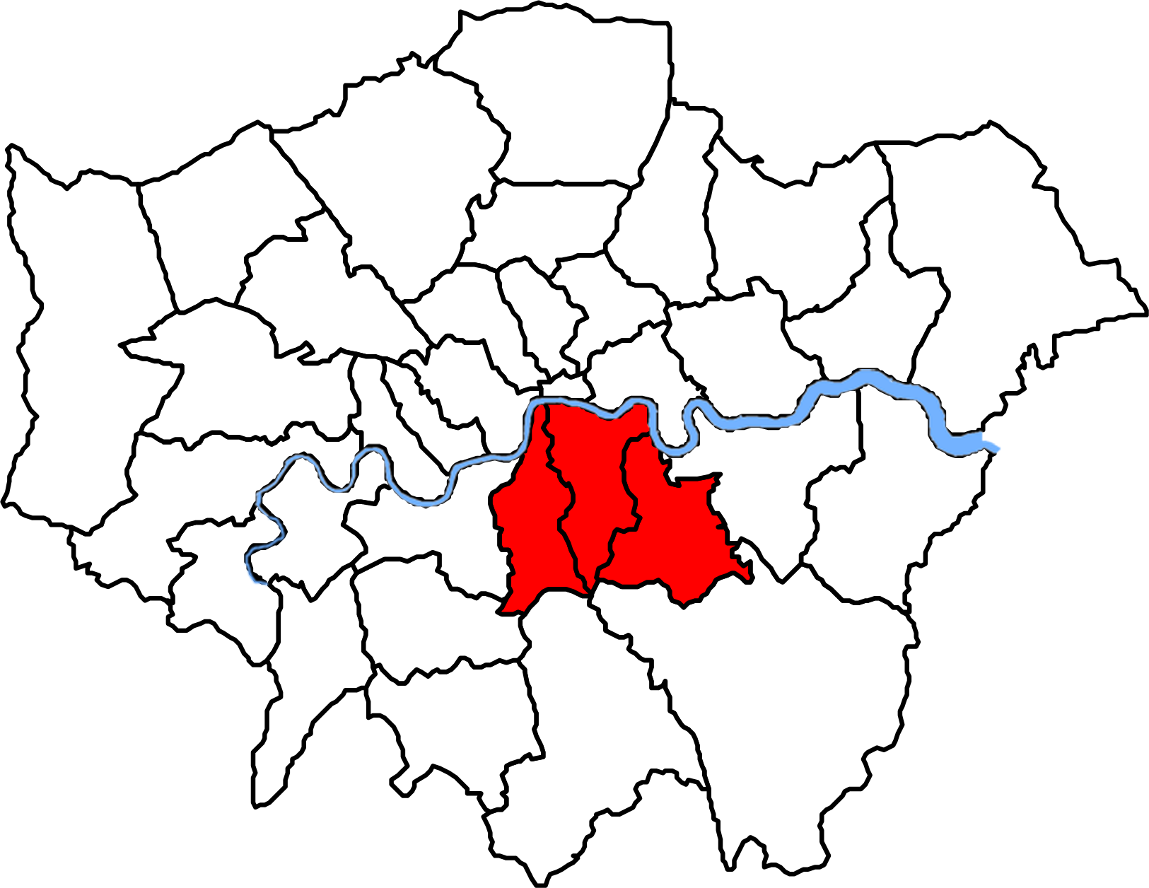 Map of London boroughs showing catchment areas for the hospital cohort.