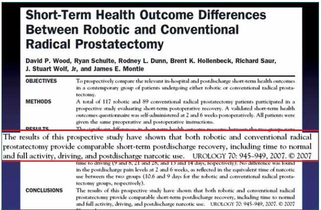 Citace publikace prokazující srovnatelné výsledky potřeby léků proti bolesti, rekonvalescence a návratu k běžným aktivitám po otevřené i roboticky asistované radikální prostatektomii.