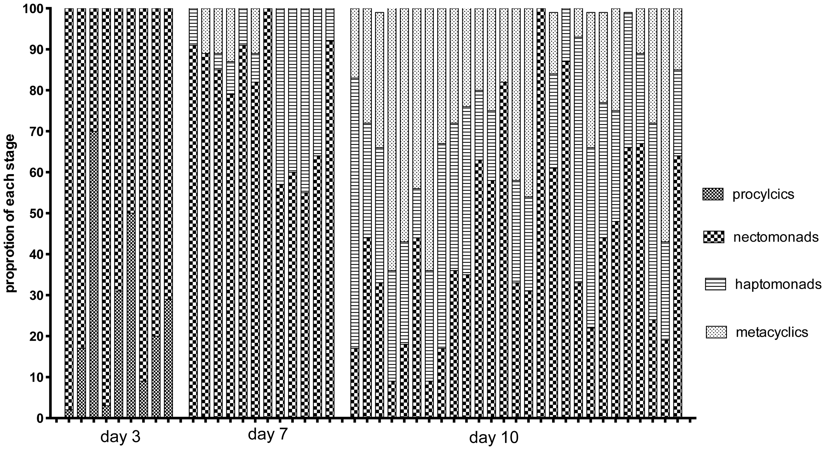 Proportion of promastigote developmental stages at the time of hybrid recovery in <i>Lu. Longipalpis</i>.