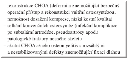 Indikace zevní fixace u syndromu diabetické nohy Tab. 1. Indications for external fixation in the diabetic foot syndrome