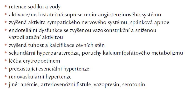 Patogeneze hypertenze u dialyzovaných pacientů.