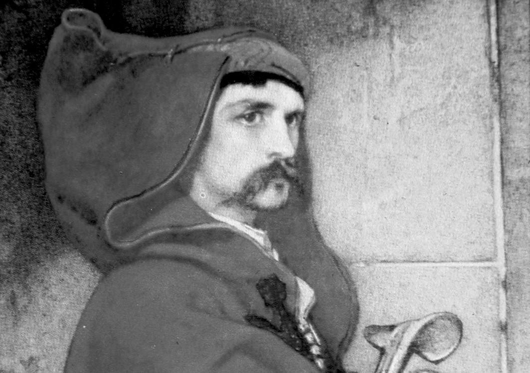Vilém Dušan Lambl jako slovanský radža; obraz Jaroslava Čermáka (1861).
