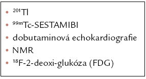 Postupy po užívané pro hodnocení viability myokardu.