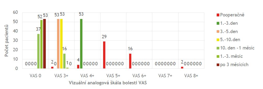 Hodnocení pooperační bolesti pomocí vizuální analogové stupnice<br> Graph3: Rating of postoperative pain using visual analogue scale