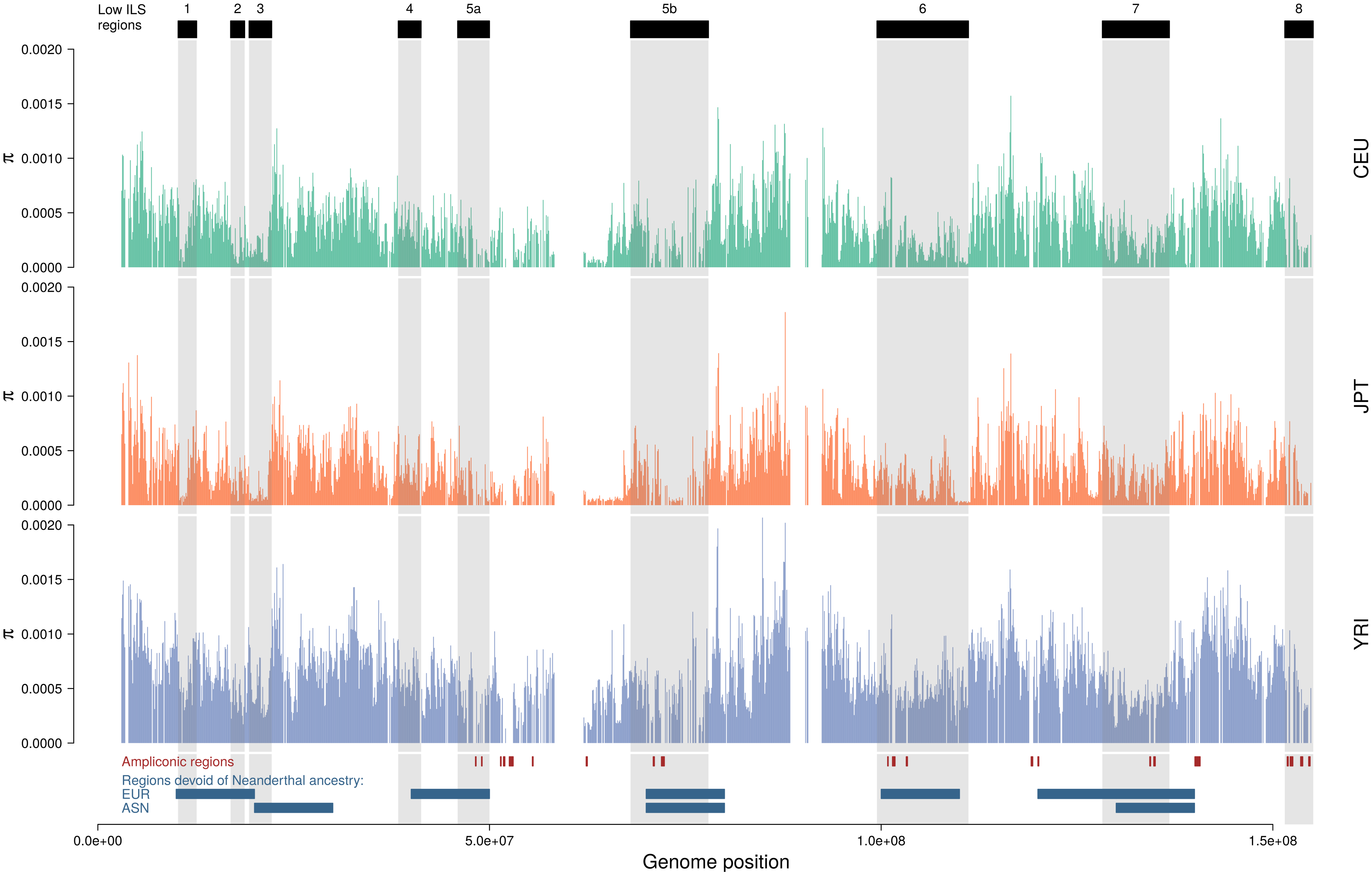 Distribution of nucleotide diversity along the X chromosome of human populations.