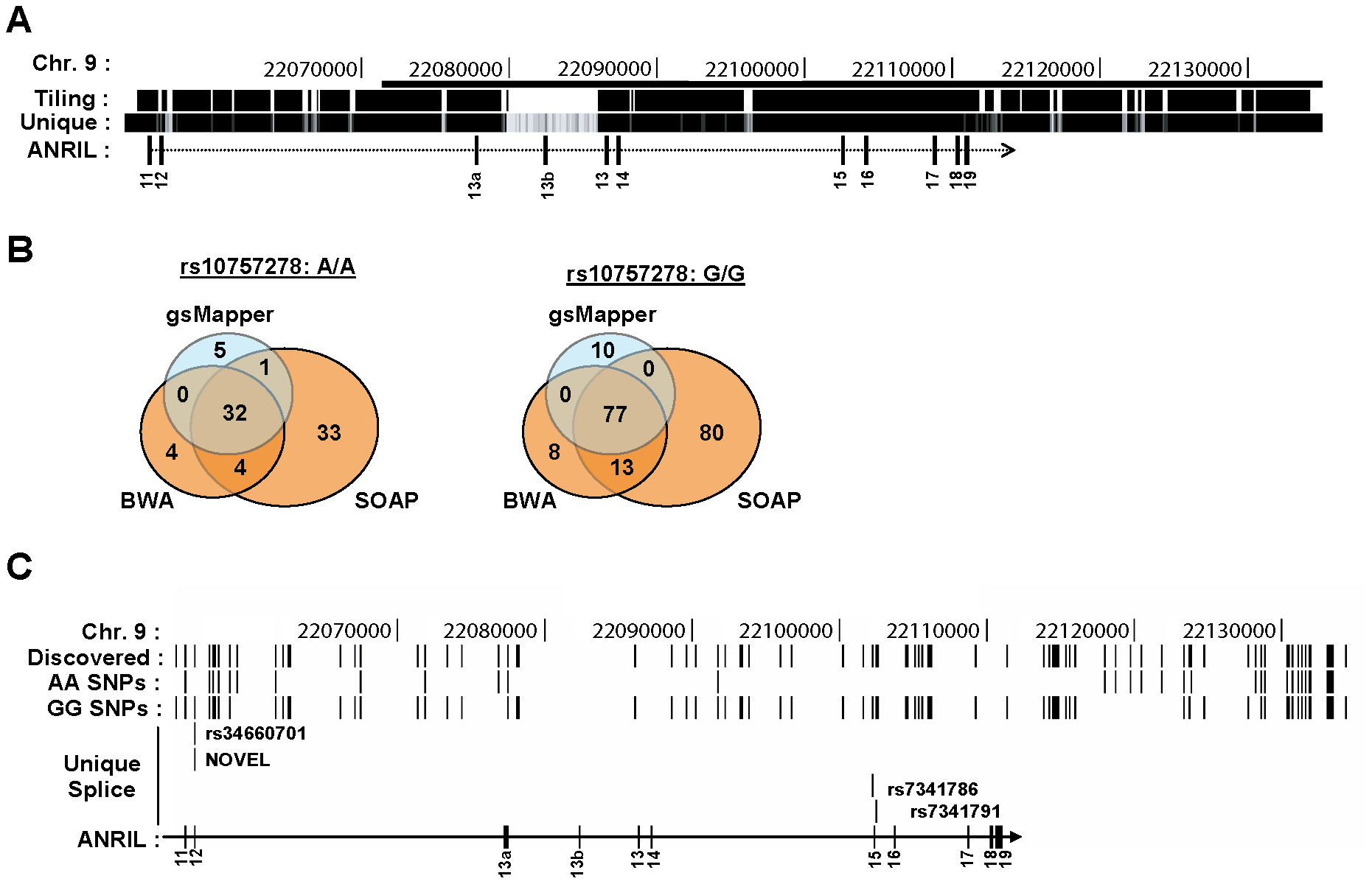 Deep sequencing of 9p21 in pools of rs10757278 homozygotes.