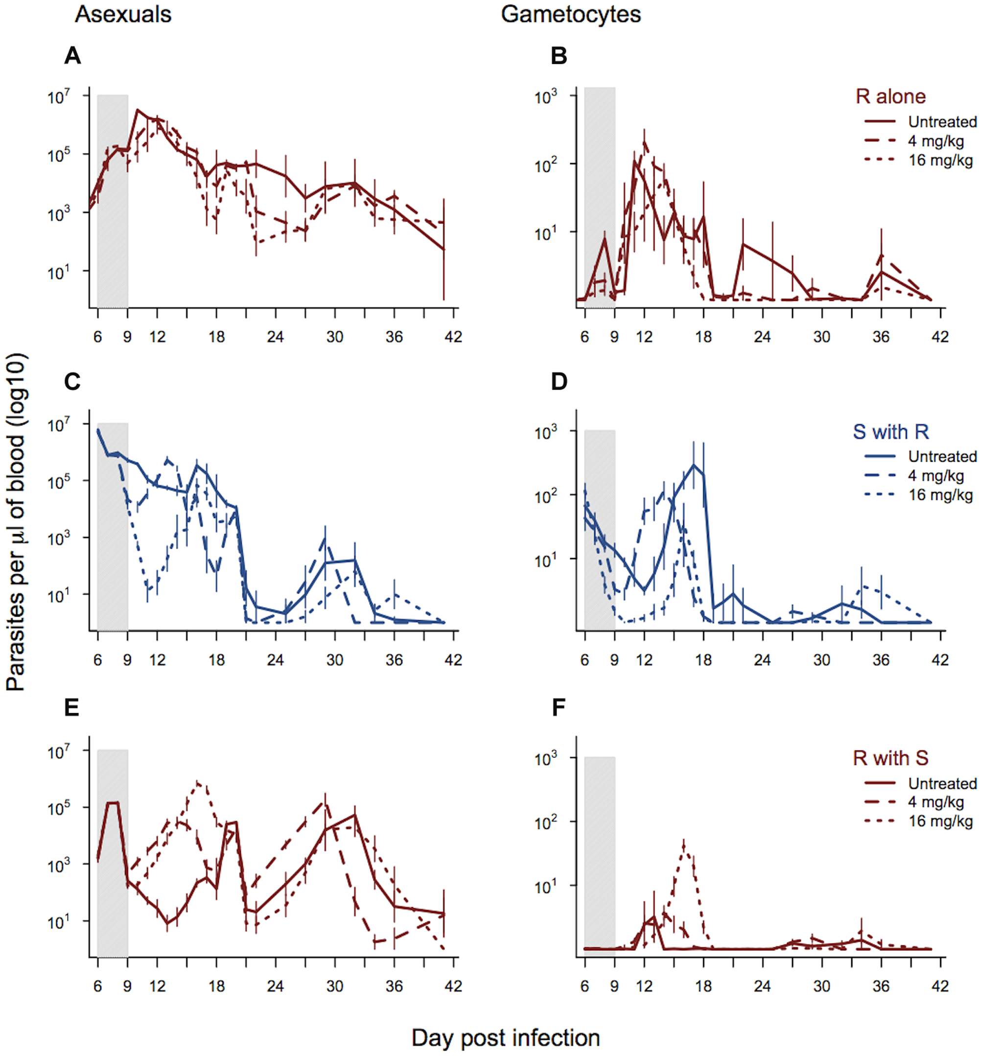 Dynamics of asexual and transmission stage parasites in single and mixed infections under three treatment regimes.