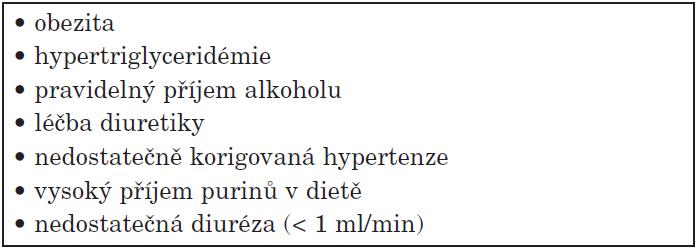 Korigovatelné faktory u hyperurikémie.