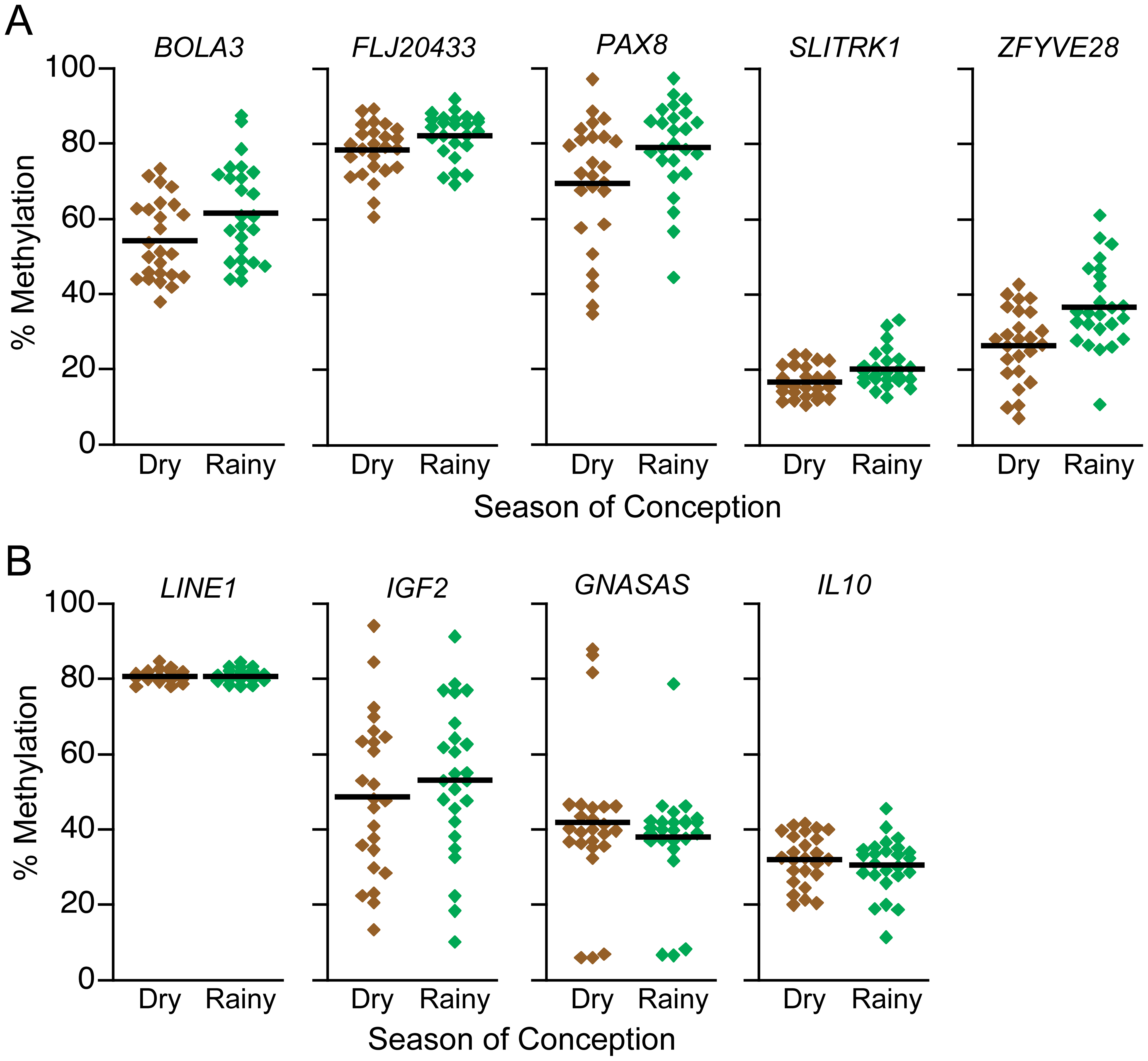 DNA methylation at putative MEs is influenced by season of conception in the Gambia.