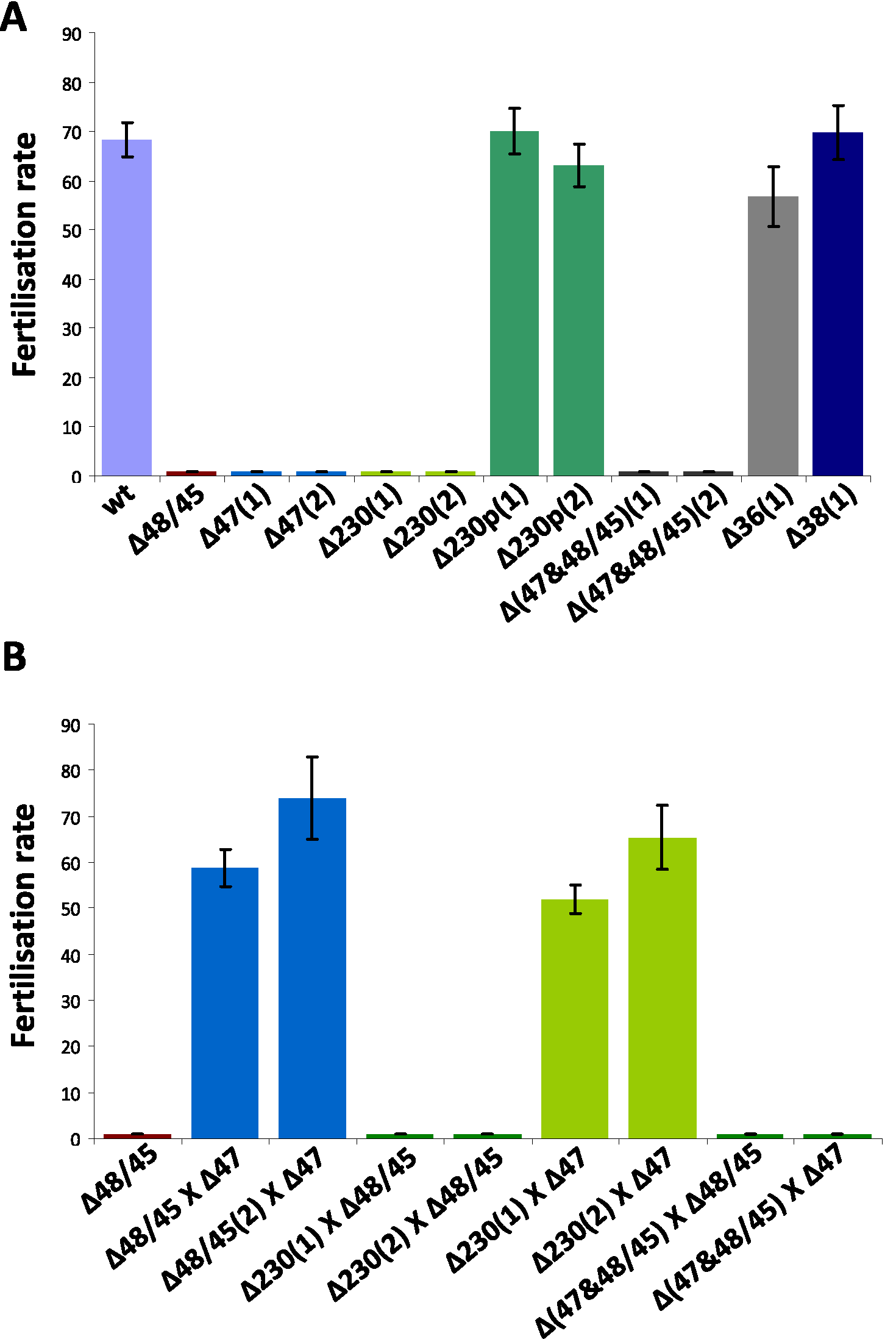 Fertilisation rates and male and female fertility of mutants lacking expression of different members of the 6-cys family of proteins.