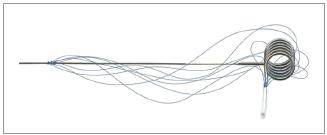 Distální konec Merci mikrovodiče typ L5 s filamenty.
