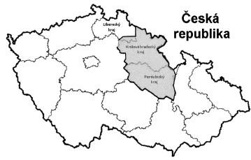 Mapa nově konstituovaného Královehradeckého kraje (od roku 2001) Královéhradecký kraj, Pardubický kraj a část Libereckého kraje tvořily Východočeský kraj do roku 2000 (stínovaná oblast). Fig 1. Map of the newly established Hradec Králové Region (in 2001) The former Eastern Bohemia Region (until 2000) (shaded) was split into three administrative regions: Hradec Králové Region, Pardubice Region, and a part of the Liberec Region.
