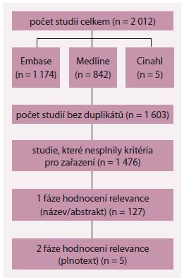 Schéma 1. Výsledky vyhledávací strategie.
