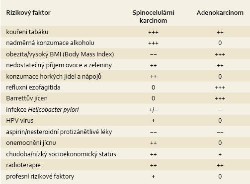 Souhrn rizikových a protektivních faktorů podle histologického typu [81,82]. Tab. 2. Summary or risk and protective factors according to histological type [81,82].
