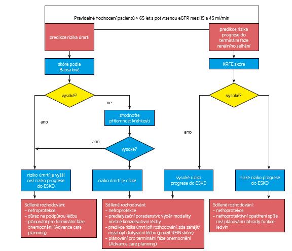 Rozhodovací algoritmus pro starší pacienty s CKD stadia 3b a vyššího