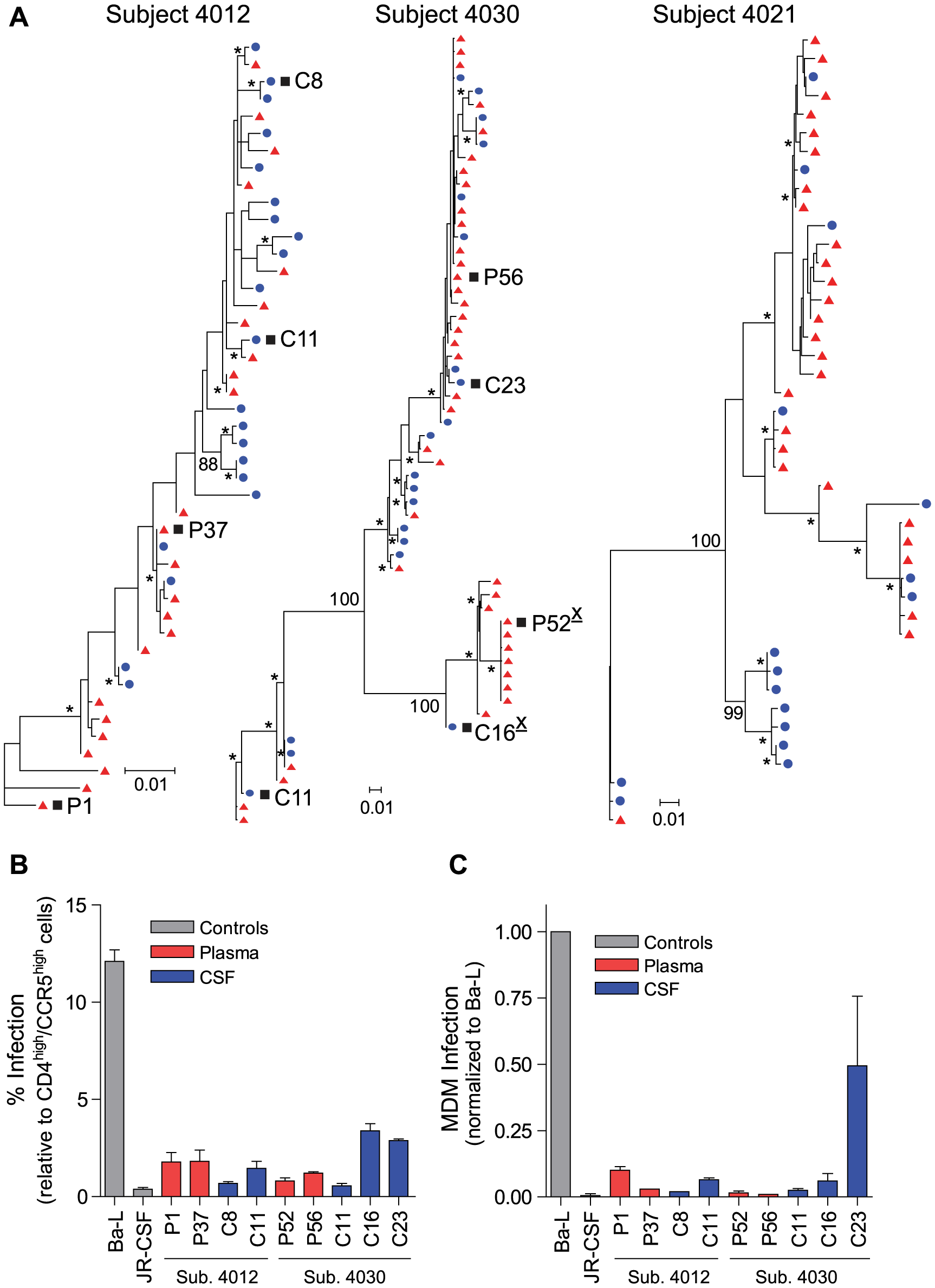 HIV-1 variants in the CSF of neurologically asymptomatic subjects can be R5 T cell-tropic.