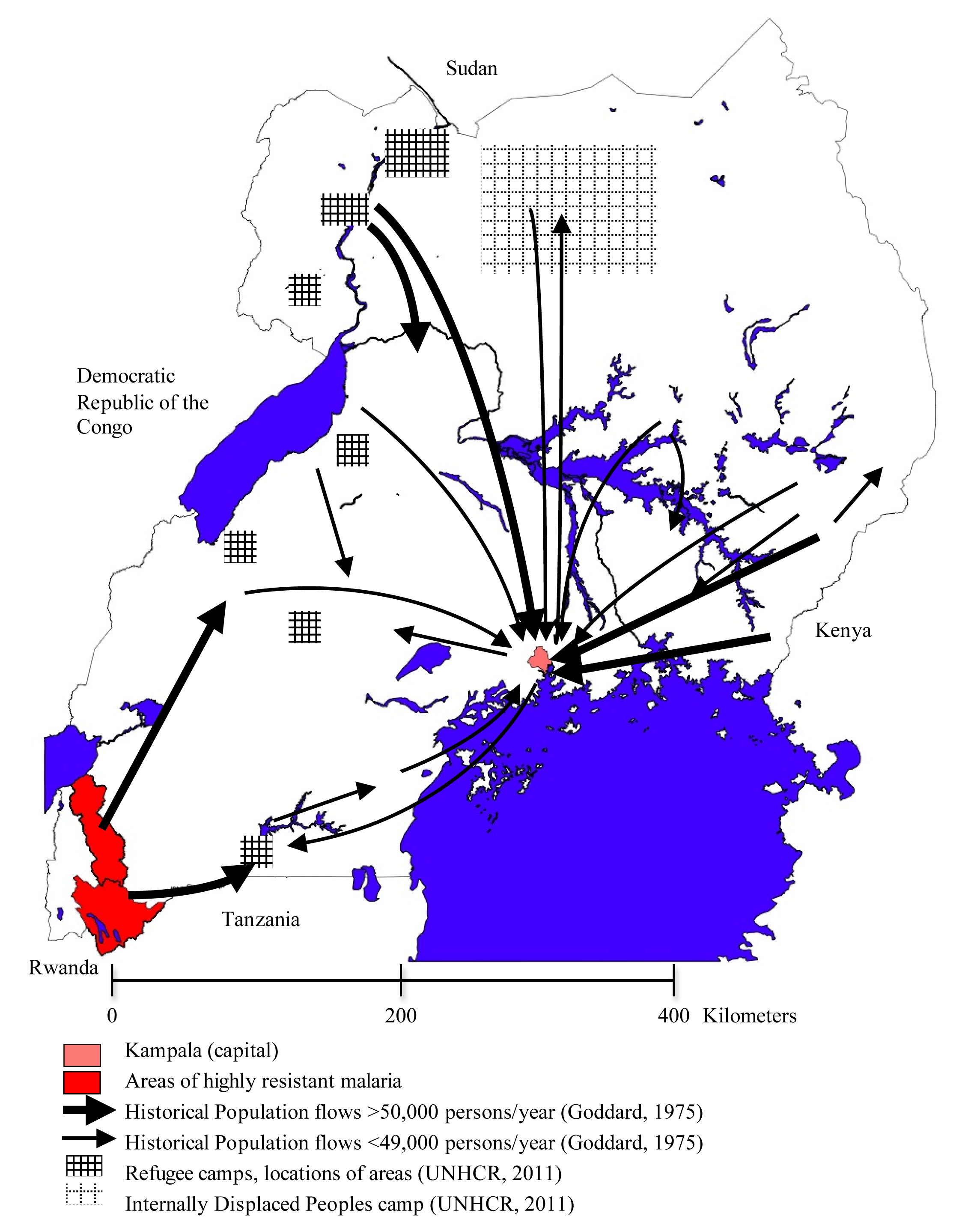 The complex patterns of migration flow in Uganda.