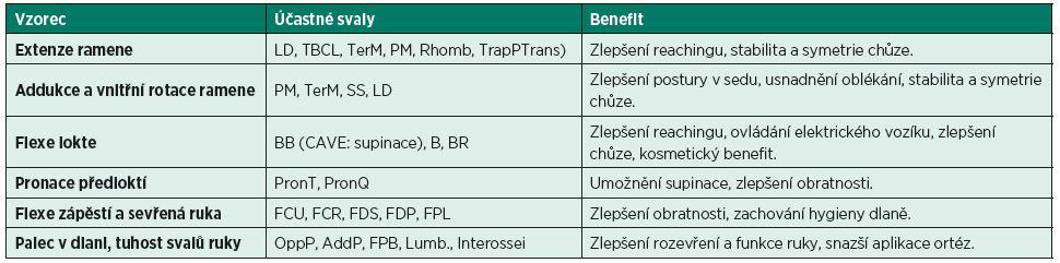"""Cíle v léčbě pomocí chemodenervace ve vztahu k obvyklým """"spastickým vzorcům"""" na horní končetině. (Modifikováno z GRACIES, J. M., HEFTER, H., SIMPSON, D. M., MOORE, P.: Spasticity in Adults 2ed. In: MOORE, P., NAUMANN, M. (eds.): Handbook of Botulinum Toxin Treatment, Oxford, Blackwell Publishing, 2006.)"""