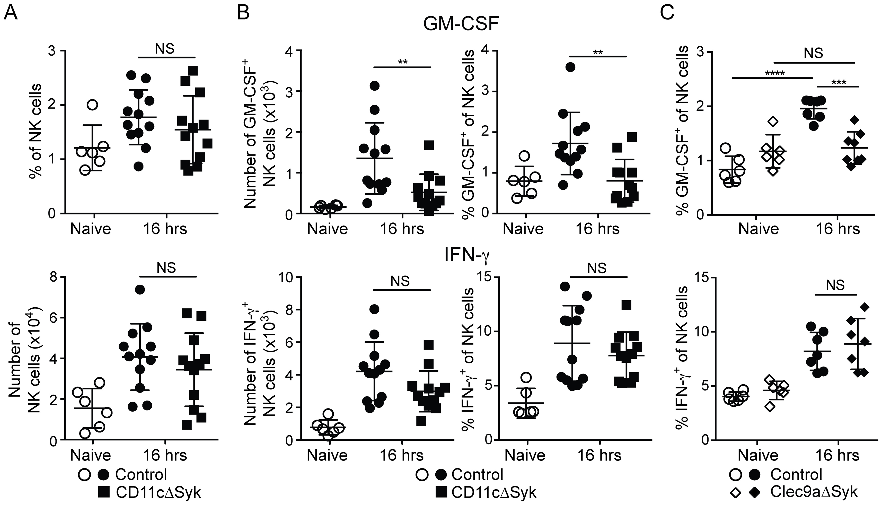 GM-CSF-producing NK cells are selectively reduced in infected CD11cΔSyk and Clec9aΔSyk mice.