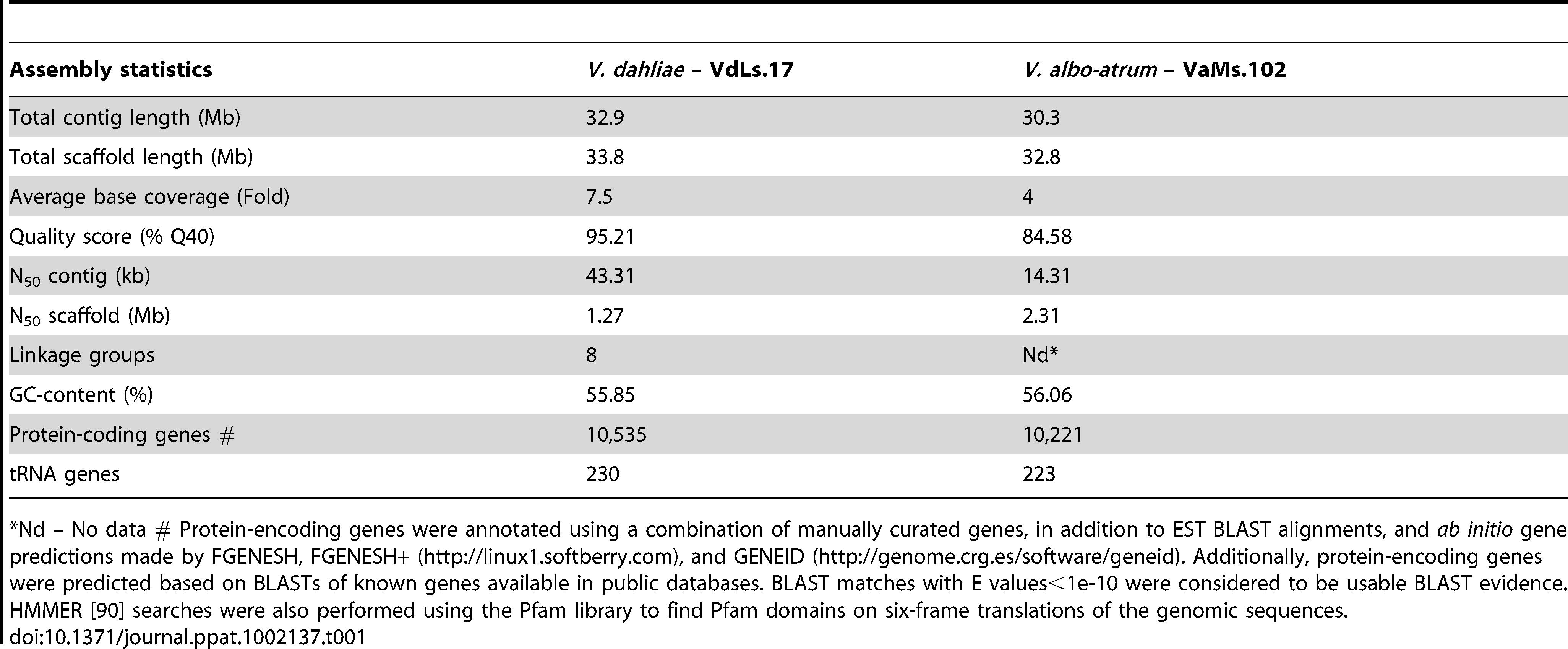 Comparison of genome statistics between <i>V. dahliae</i> and <i>V. albo-atrum</i>.