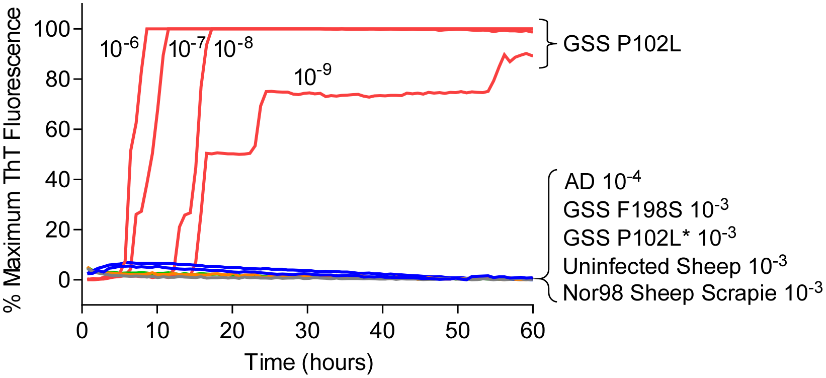 RT-QuIC detection of GSS P102L and lack of detection for GSS F198S, P102L* and sheep atypical Nor98 scrapie using hamster rPrP<sup>Sen</sup> 90–231.