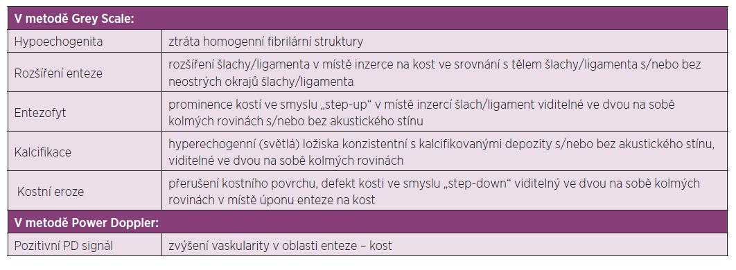 Definice jednotlivých patologických ultrazvukových nálezů u entezitid.