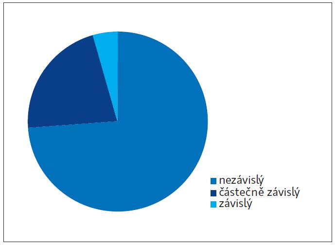 Dosažený stupeň postižení v instrumentálních činnostech IADL ve sledovaném souboru