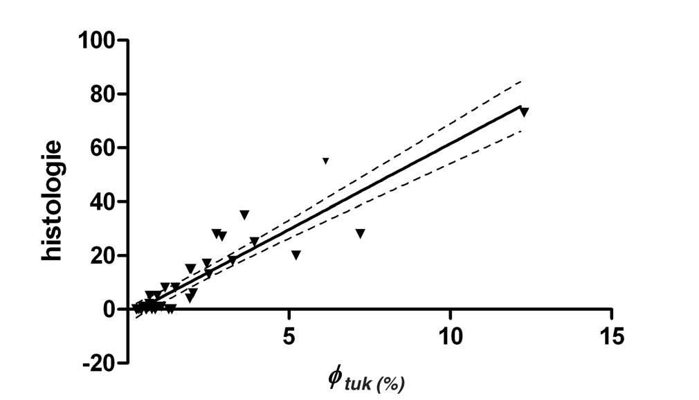 Závislost zastoupení tuku φ<sub>tuk</sub> (%) na počtu poškozených hepatocytů histologie (HIS) Počet bodů pro výpočet závislosti n = 38. Lineární závislost je popsána rovnicí HIS = 6,4 φ<sub>tuk</sub> – 2,1; r<sup>2</sup> = 0,85; přerušovaná čára ukazuje na 95% interval spolehlivosti.