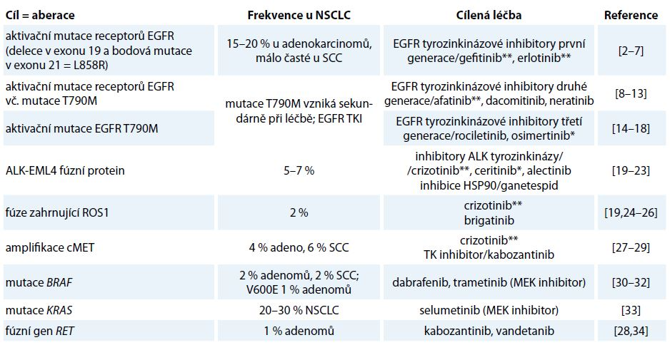 Nejčastější dosud známé aberace u NSCLC jako cíle stávající a potencionální protinádorové terapie.