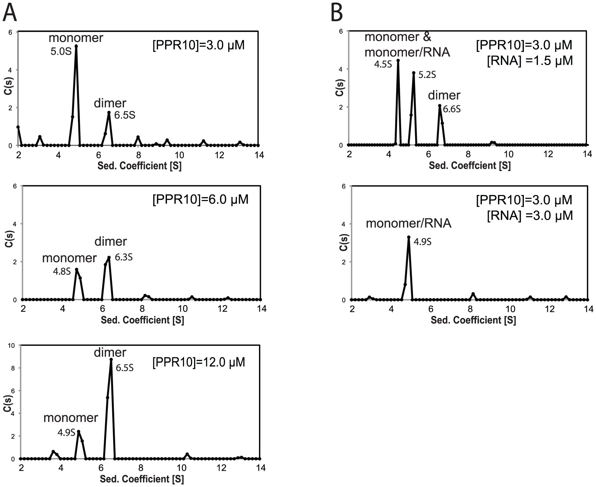 Sedimentation Velocity Analytical Ultracentrifugation of rPPR10 and rPPR10/RNA Complexes.