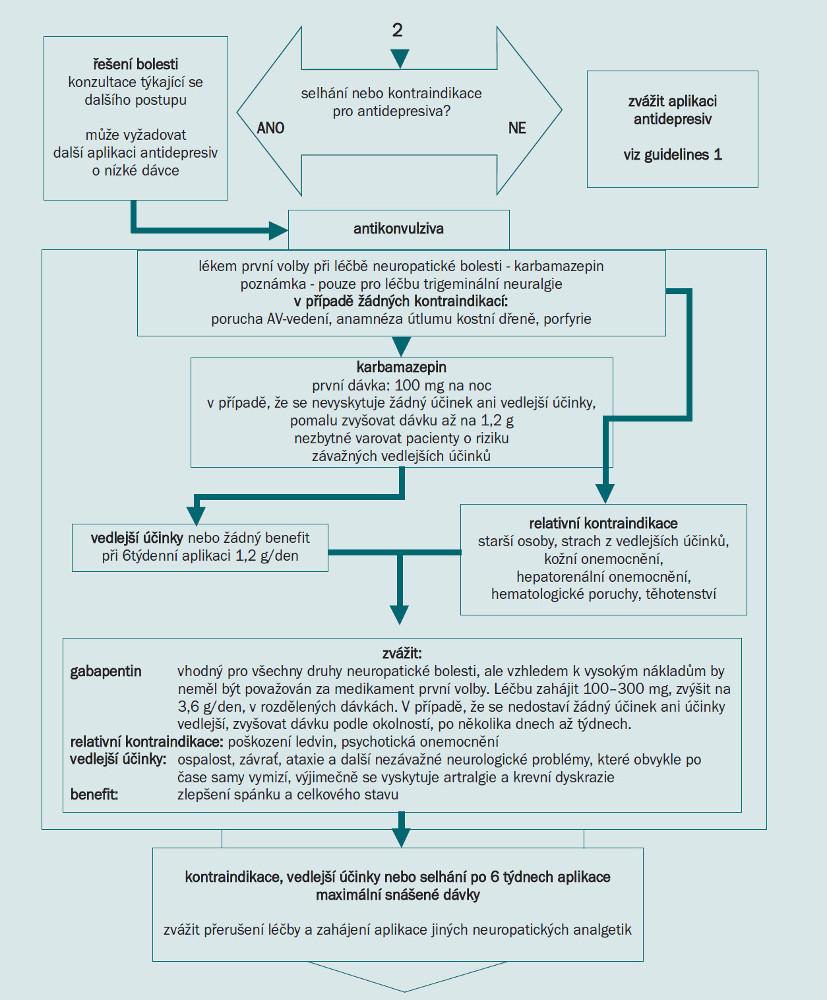 Schéma 5. Guidelines pro aplikaci neuropatických analgetik 2.
