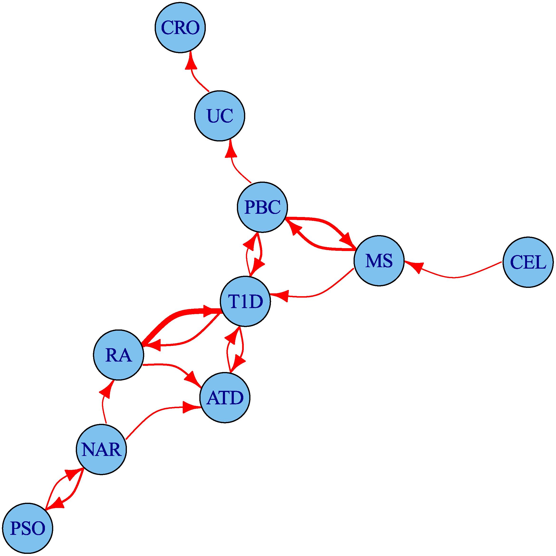 Network of degree of pleiotropy between phenotypes.