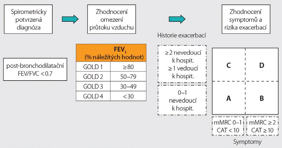 Hodnocení závažnosti CHOPN, převzato podle GOLD 2017<sup>(10)</sup>