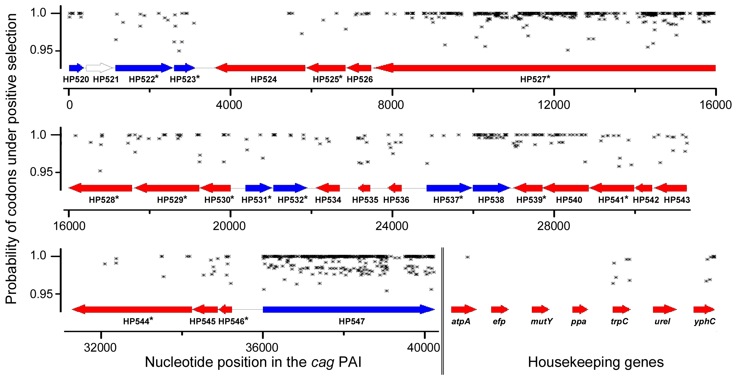 Sliding window map of maximum likelihood analysis of codons to be under diversifying selection for complete <i>cag</i>PAIs and housekeeping genes.
