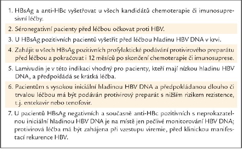 Doporučení Evropské asociace pro studium jater pro pacienty s chronickou hepatitidou B, kteří mají dostávat chemoterapii či imunosupresivní léčbu.