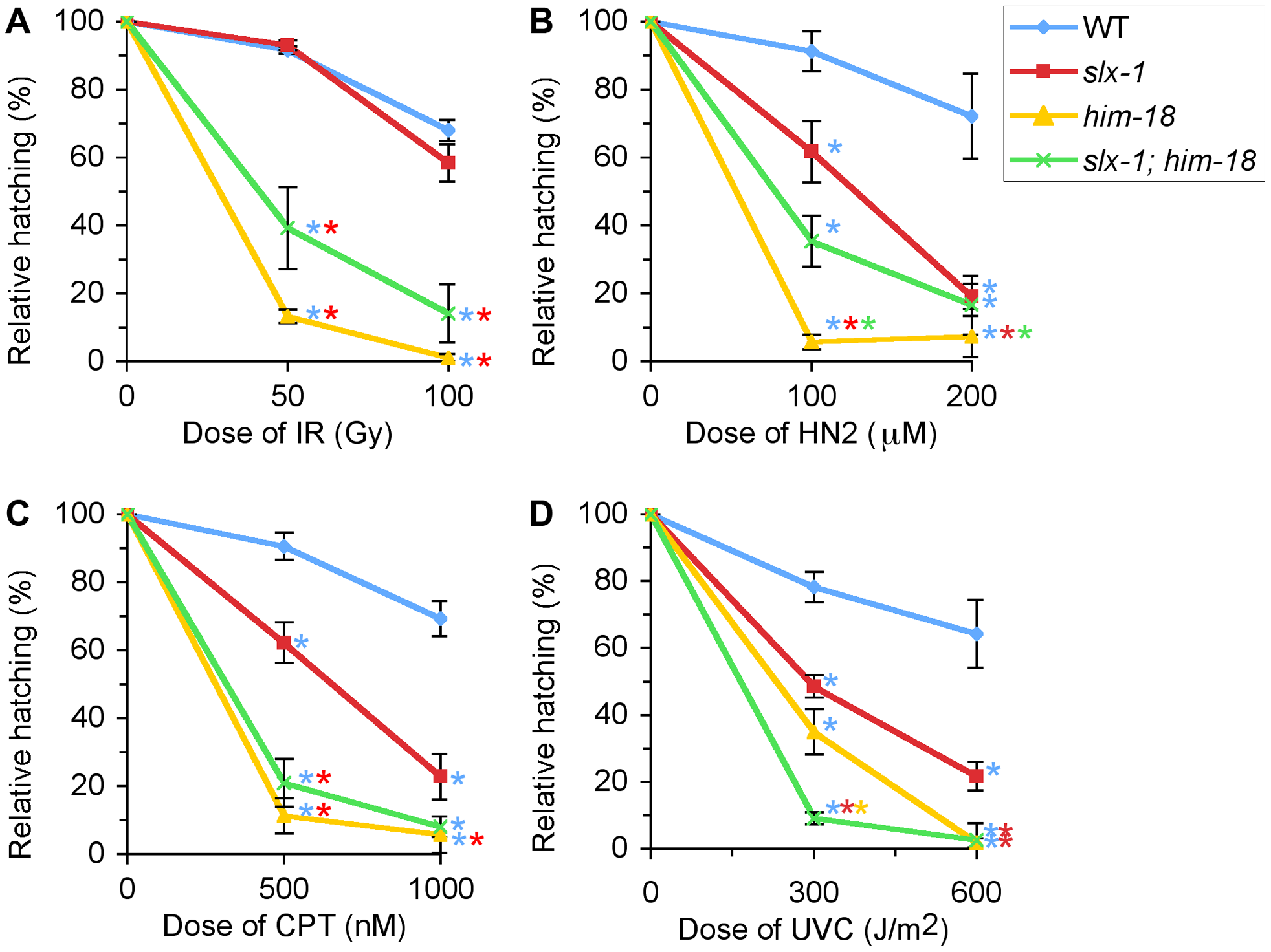 <i>slx-1</i> mutants exhibit hypersensitivity to nitrogen mustard, camptothecin, and ultraviolet C, but not ionizing radiation.