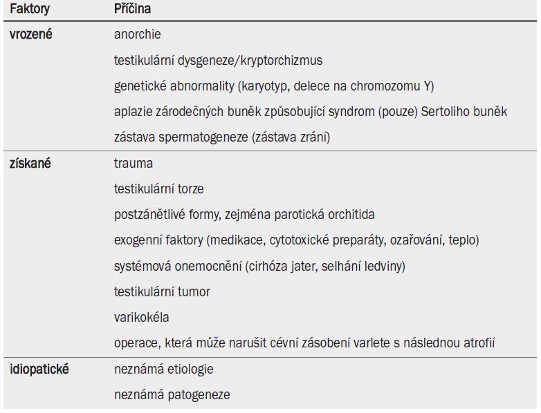 Příčiny testikulární nedostatečnosti.