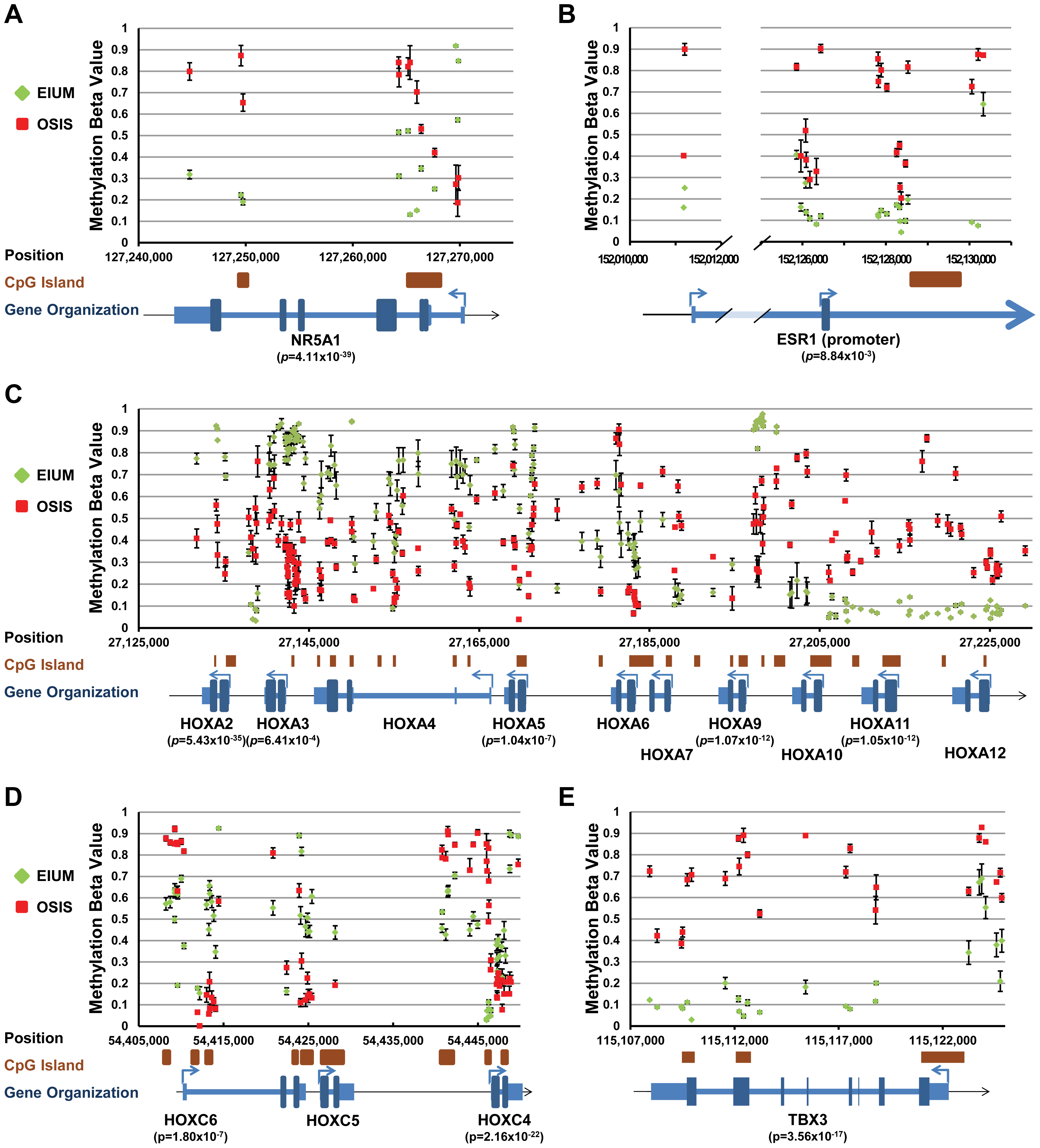 Key transcription factors with differential methylation (part 1).
