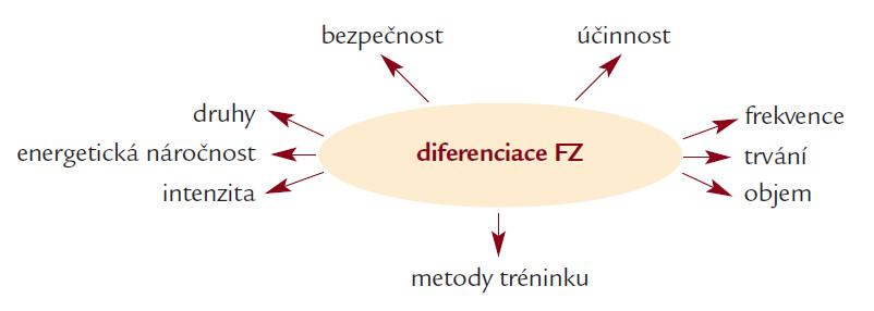 Schéma 3. Vliv diferenciace na základní vlastnosti fyzické zátěže v průběhu rehabilitačního procesu.