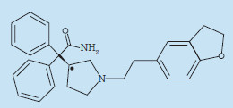 Chemická struktura darifenacinu.