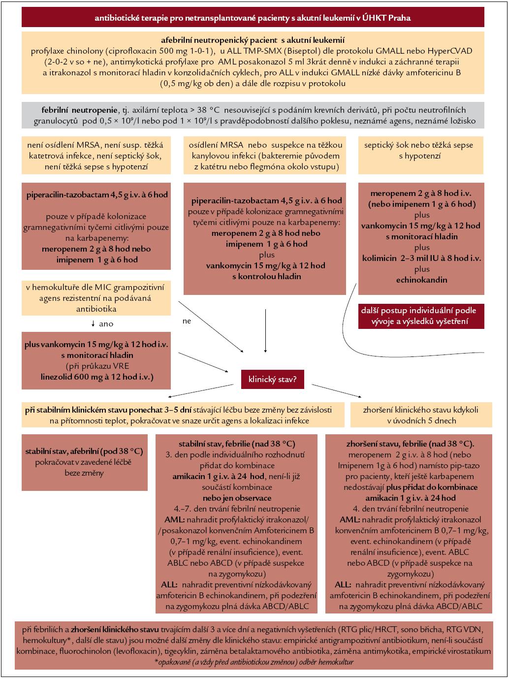 Aktuální postup podávání antimikrobiálních léků pacientů s akutní leukemií, který zohledňuje evropská doporučení a lokální epidemiologickou situaci.